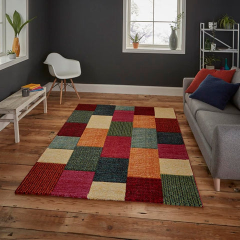 Think Rugs Brooklyn 21830 | Modern Multicoloured Rugs | 120cm x 170cm