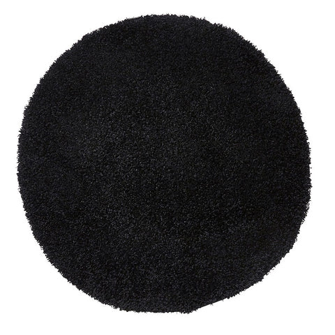 Think Rugs Vista 2236 Black | Shaggy Black Rugs | 133cm x 133cm