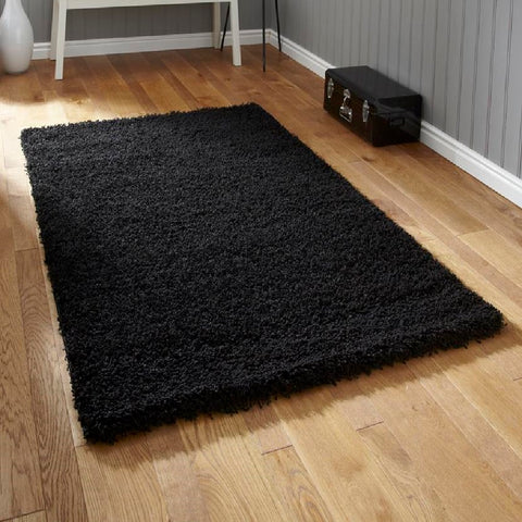 Think Rugs Vista 2236 Black | Shaggy Black Rugs | 200cm x 290cm