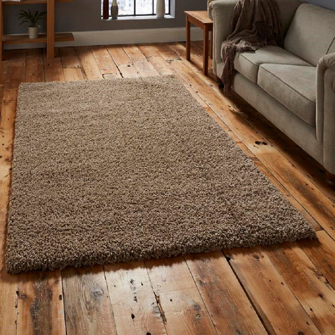 Think Rugs Vista 2236 Beige | Shaggy Beige Rugs | 240cm x 340cm