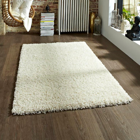 Think Rugs Vista 2236 Cream | Shaggy Cream Rugs | 60cm x 120cm
