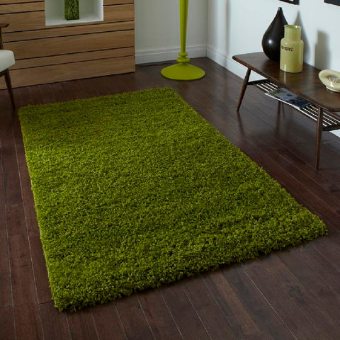 Think Rugs Vista 2236 Green | Shaggy Green Rugs | 60cm x 120cm