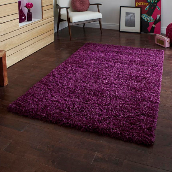 Think Vista 2236 Purple Shaggy Rug 60cm X 120cm Premium Rugs