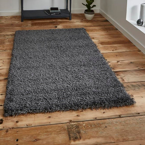 Think Rugs Vista 2236 Dark Grey | Shaggy Dark Grey Rugs | 80cm x 150cm