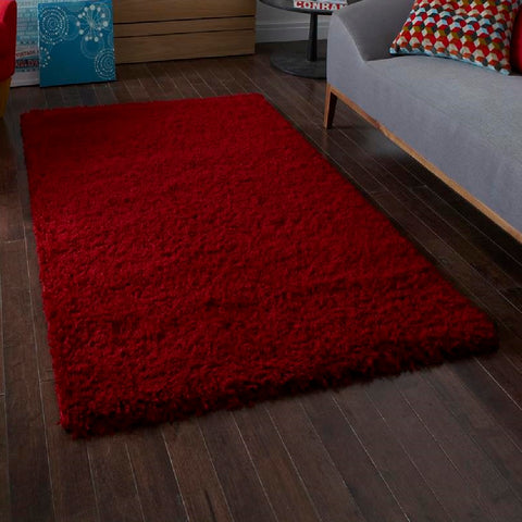 Think Rugs Vista 2236 Red | Shaggy Red Rugs | 80cm x 150cm