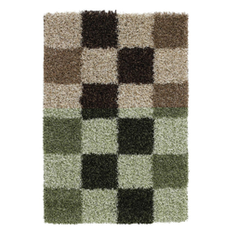 Think Rugs Vista 2247 Check | Shaggy Check Rugs | 60cm x 220cm