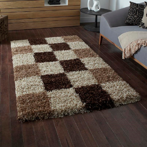 Think Rugs Vista 2247 Check | Shaggy Check Rugs | 80cm x 150cm