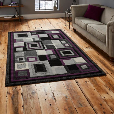 Think Rugs Hudson 3222 | Budget Black & Purple Rugs | 120cm x 170cm
