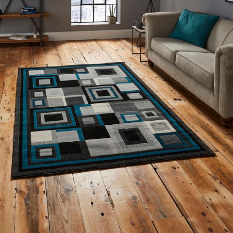 Think Rugs Hudson 3222 | Budget Black & Blue Rugs | 160cm x 220cm