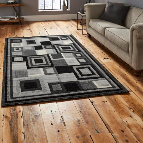 Think Rugs Hudson 3222 | Budget Black & Grey Rugs | 160cm x 220cm