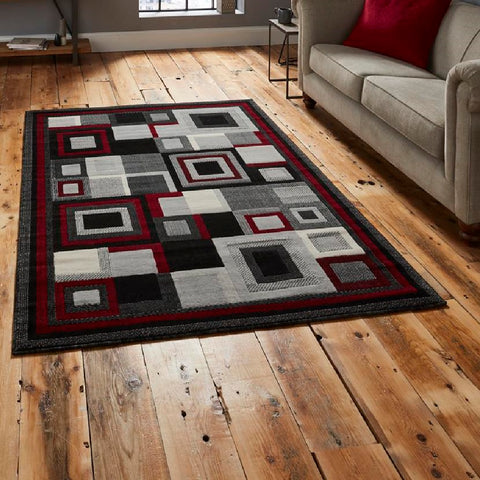 Think Rugs Hudson 3222 | Budget Black & Red Rugs | 160cm x 220cm