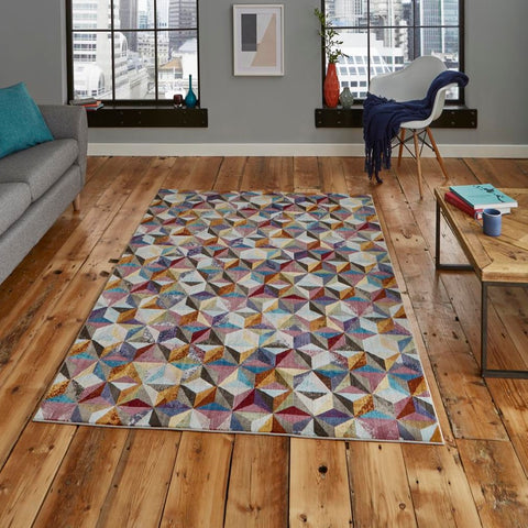 Think Rugs 16th Avenue 34A | Modern Multicoloured Rugs | 200cm x 290cm