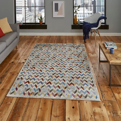 Think Rugs 16th Avenue 36A | Modern Multicoloured Rugs | 120cm x 170cm