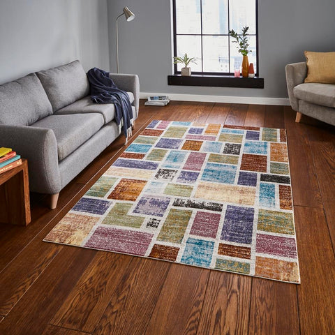 Think Rugs 16th Avenue 37A | Modern Multicoloured Rugs | 120cm x 170cm