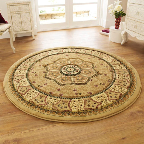 Think Rugs Heritage 4400 Beige | Traditional Beige Rugs | 150cm x 150cm