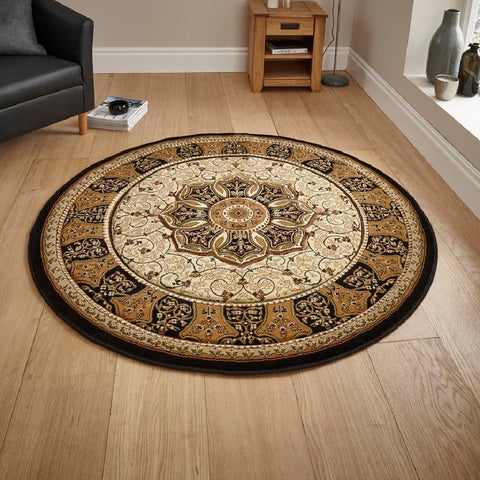 Think Rugs Heritage 4400 Black & Cream | Traditional Black & Cream Rugs | 150cm x 150cm