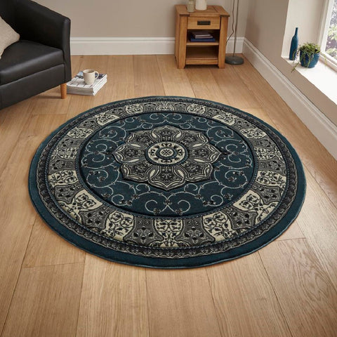 Think Rugs Heritage 4400 Dark Blue | Traditional Dark Blue Rugs | 150cm x 150cm