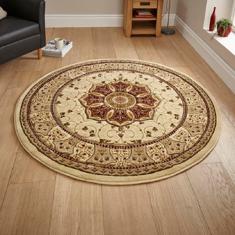 Think Rugs Heritage 4400 Cream & Red | Traditional Cream & Red Rugs | 150cm x 150cm