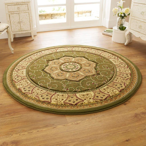 Think Rugs Heritage 4400 Green | Traditional Green Rugs | 150cm x 150cm
