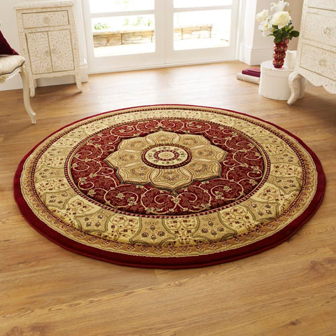 Think Rugs Heritage 4400 Red | Traditional Red Rugs | 150cm x 150cm