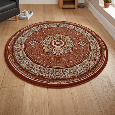 Think Rugs Heritage 4400 Terracotta | Traditional Terra Rugs | 150cm x 150cm