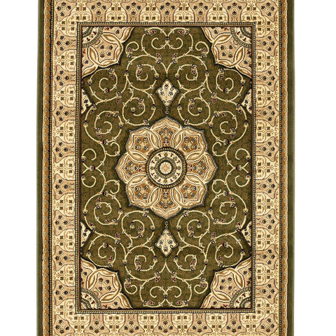 Think Rugs Heritage 4400 Green | Traditional Green Rugs | 67cm x 240cm