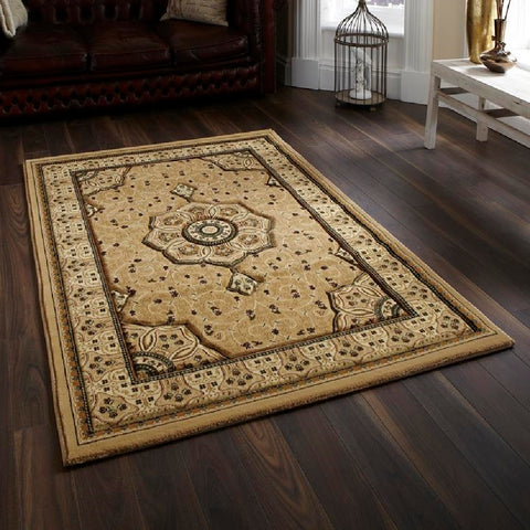 Think Rugs Heritage 4400 Beige | Traditional Beige Rugs | 80cm x 140cm