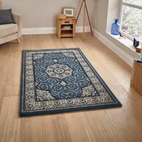Think Rugs Heritage 4400 Dark Blue | Traditional Dark Blue Rugs | 80cm x 140cm