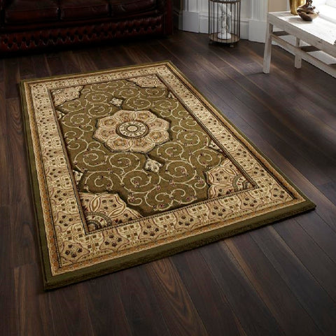 Think Rugs Heritage 4400 Green | Traditional Green Rugs | 80cm x 140cm