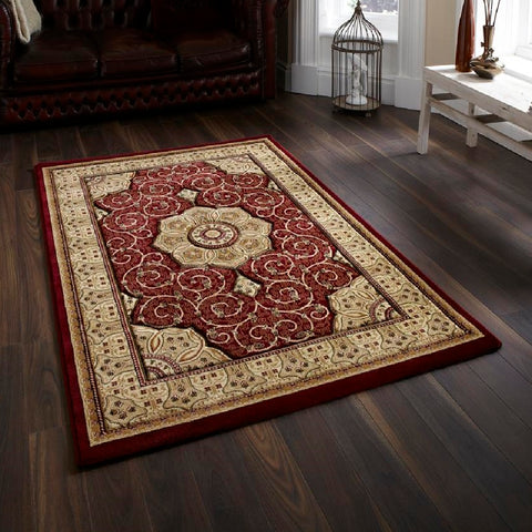 Think Rugs Heritage 4400 Red | Traditional Red Rugs | 80cm x 140cm