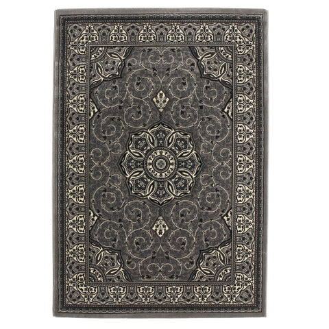 Think Rugs Heritage 4400 Silver | Traditional Silver Rugs | 80cm x 140cm
