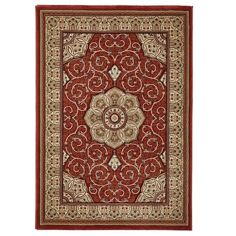 Think Rugs Heritage 4400 Terracotta | Traditional Terra Rugs | 80cm x 140cm