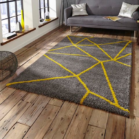 Think Rugs Royal Nomadic 5746 | Modern Grey & Yellow Rugs | 160cm x 230cm