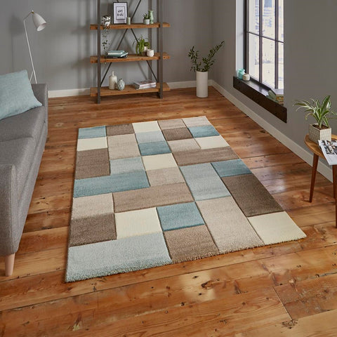 Think Rugs Brooklyn 646 | Modern Beige & Blue Rugs | 120cm x 170cm