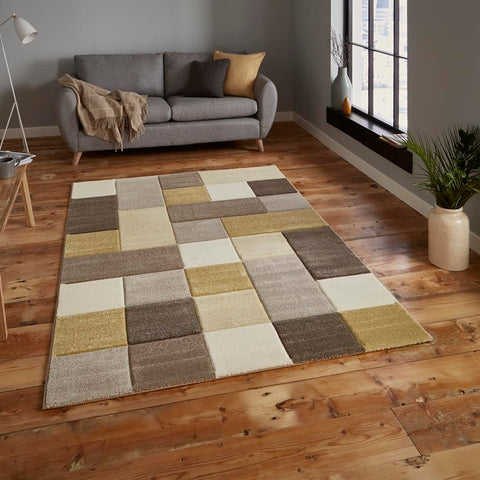 Think Rugs Brooklyn 646 | Modern Beige & Yellow Rugs | 120cm x 170cm