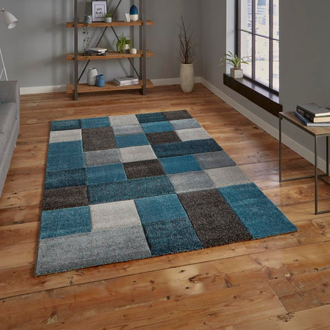 Think Rugs Brooklyn 646 | Modern Blue & Grey Rugs | 120cm x 170cm