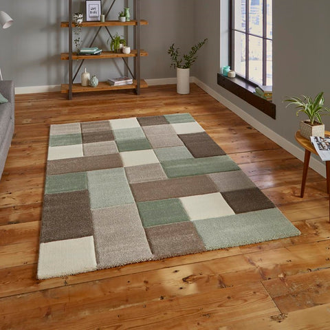 Think Rugs Brooklyn 646 | Modern Beige & Green Rugs | 160cm x 220cm