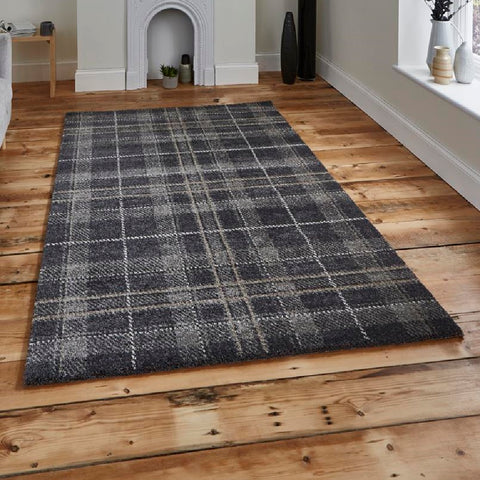 Think Rugs Wellness 6630 | Modern Dark Grey Rugs | 160cm x 220cm