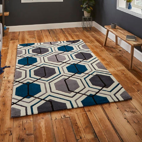Think Rugs Hong Kong 7526 Grey & Navy | Modern Grey & Navy Rugs | 90cm x 150cm