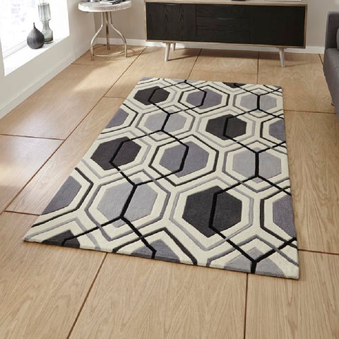 Think Rugs Hong Kong 7526 Grey | Modern Grey Rugs | 90cm x 150cm