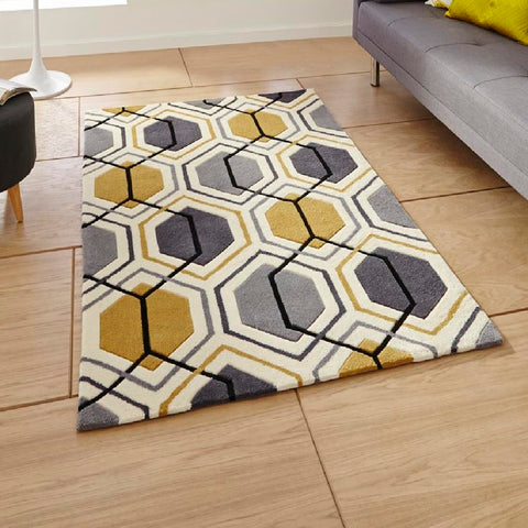 Think Rugs Hong Kong 7526 Grey & Yellow | Modern Grey & Yellow Rugs | 90cm x 150cm