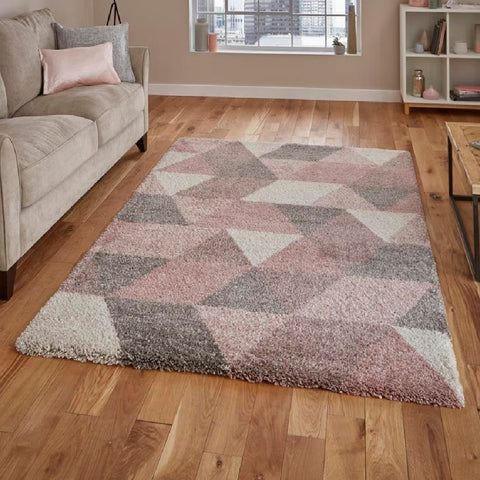 Think Rugs Royal Nomadic 7611 | Modern Rose & Cream Rugs | 120cm x 170cm