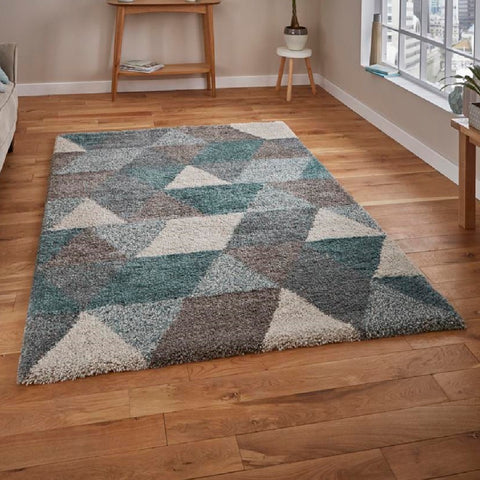 Think Rugs Royal Nomadic 7611 | Modern Grey & Teal Rugs | 160cm x 220cm