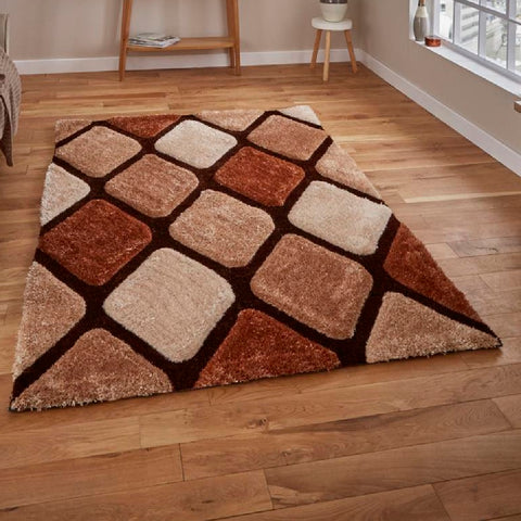 Think Rugs Noble House 9247 | Shaggy Beige & Brown Rugs | 150cm x 230cm