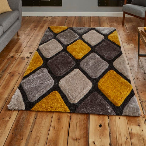 Think Rugs Noble House 9247 | Shaggy Grey & Yellow Rugs | 150cm x 230cm