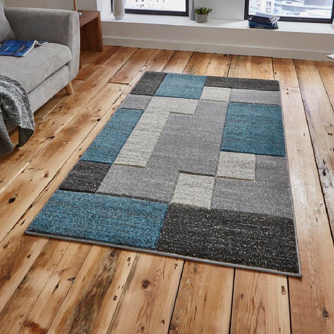 Think Rugs Matrix A0221 | Modern Grey & Blue Rugs | 80cm x 150cm
