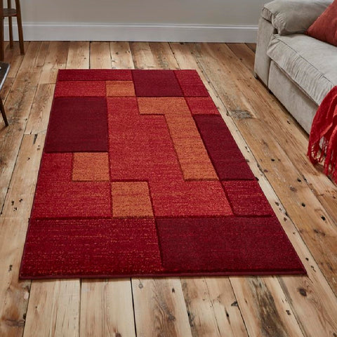Think Rugs Matrix A0221 | Modern Red Rugs | 80cm x 150cm