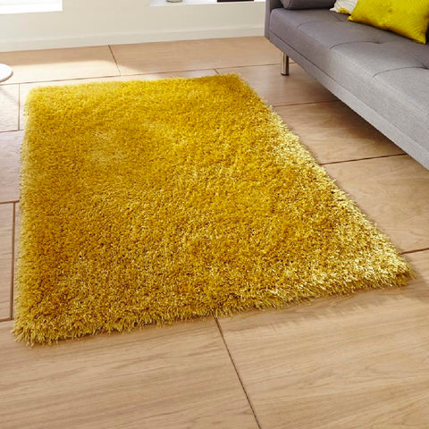 Think Rugs Monte Carlo Yellow | Shaggy Yellow Rugs | 80cm x 140cm
