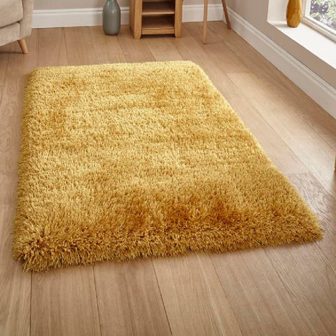 Think Rugs Montana Yellow | Shaggy Yellow Rugs | 200cm x 290cm