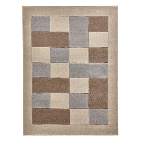 Think Rugs Matrix MT04 Beige & Grey | Modern Beige & Grey Rugs | 60cm x 225cm
